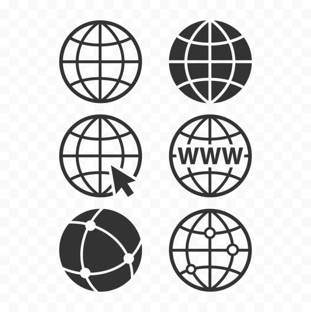 illustrazioni stock, clip art, cartoni animati e icone di tendenza di set di icone del concept globe del world wide web. set di simboli web planet. icone del globo per i siti web. - internet