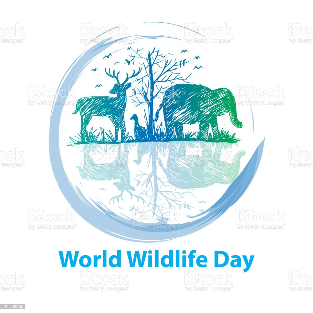 World wildlife day concept vector art illustration