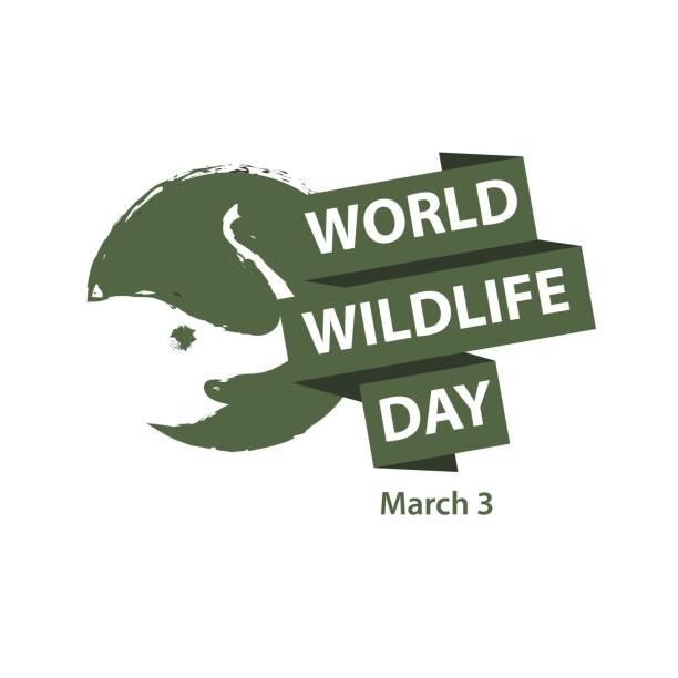 ilustrações, clipart, desenhos animados e ícones de mundo dos animais selvagens dia logo vetor modelo de design - calendário de vida selvagem