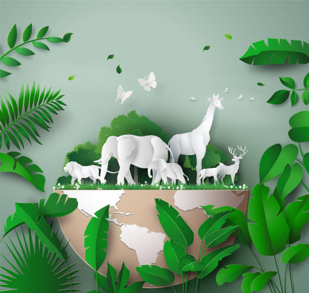 """World Wildlife Day World Wildlife Day with the animal in forest , Paper art and digital craft style. wildlife or """"wild animal"""" stock illustrations"""