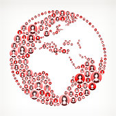 World Women Faces Girl Power Pattern. This vector collage has pink and red round buttons arrange in seamless patter. Individual iconography on the buttons shows women portraits. Women and businesswomen convey a feeling of girl power unity teamwork and partnership. This royalty free vector background graphic is ideal for your feminism and girl power concepts.