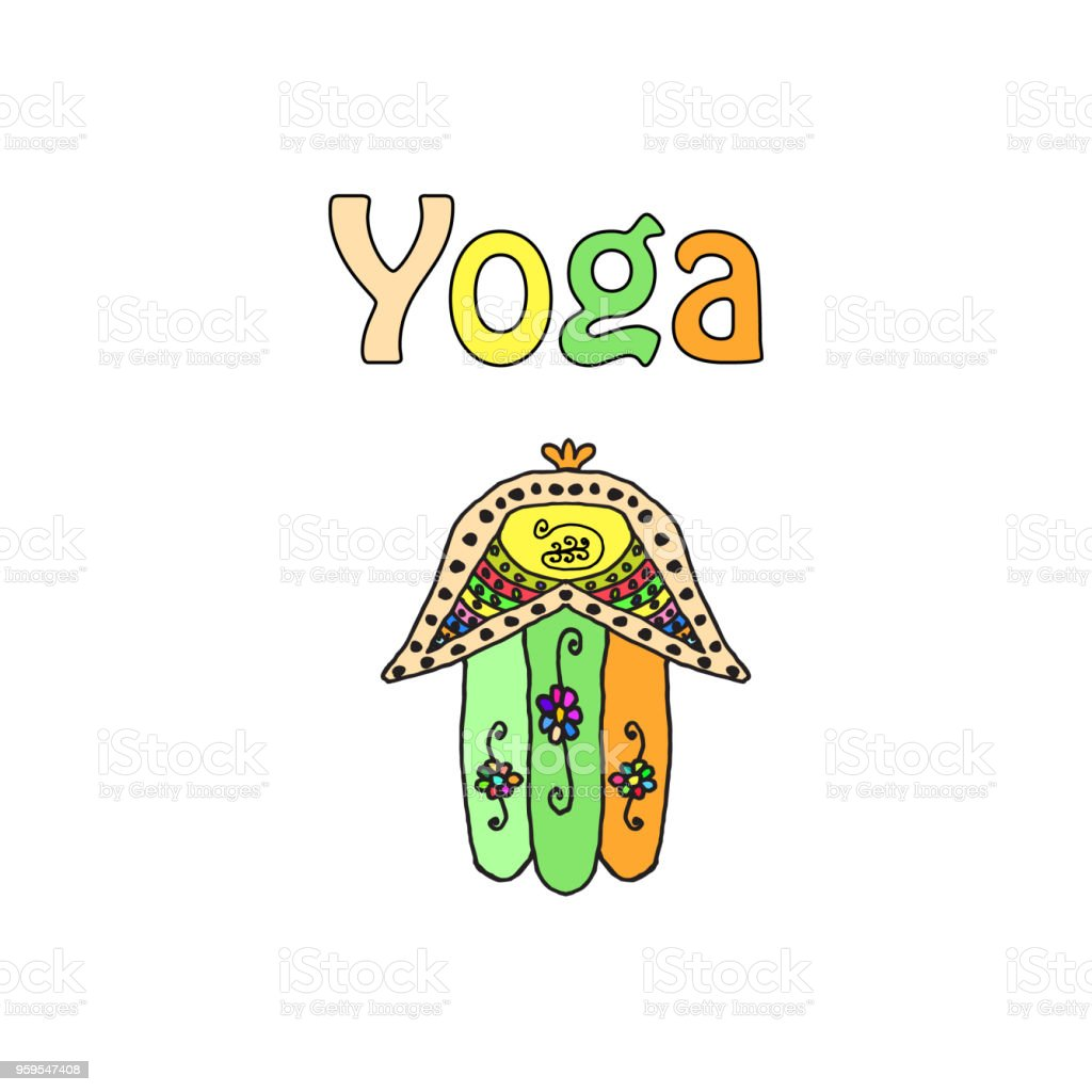world yoga day hamsa doodle hand draw vector illustration on isolated vector id