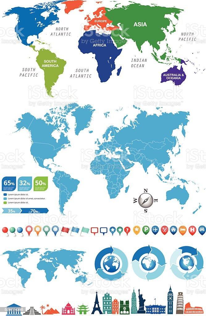 World_map_kit_v2 - ilustração de arte em vetor