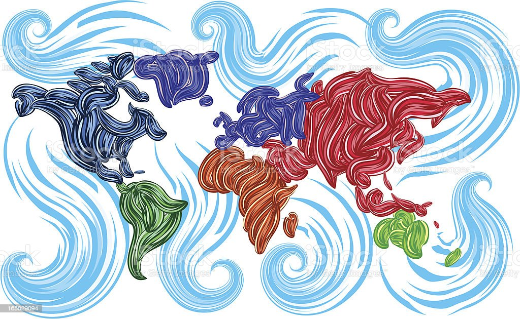 worldmap in pasty style royalty-free stock vector art