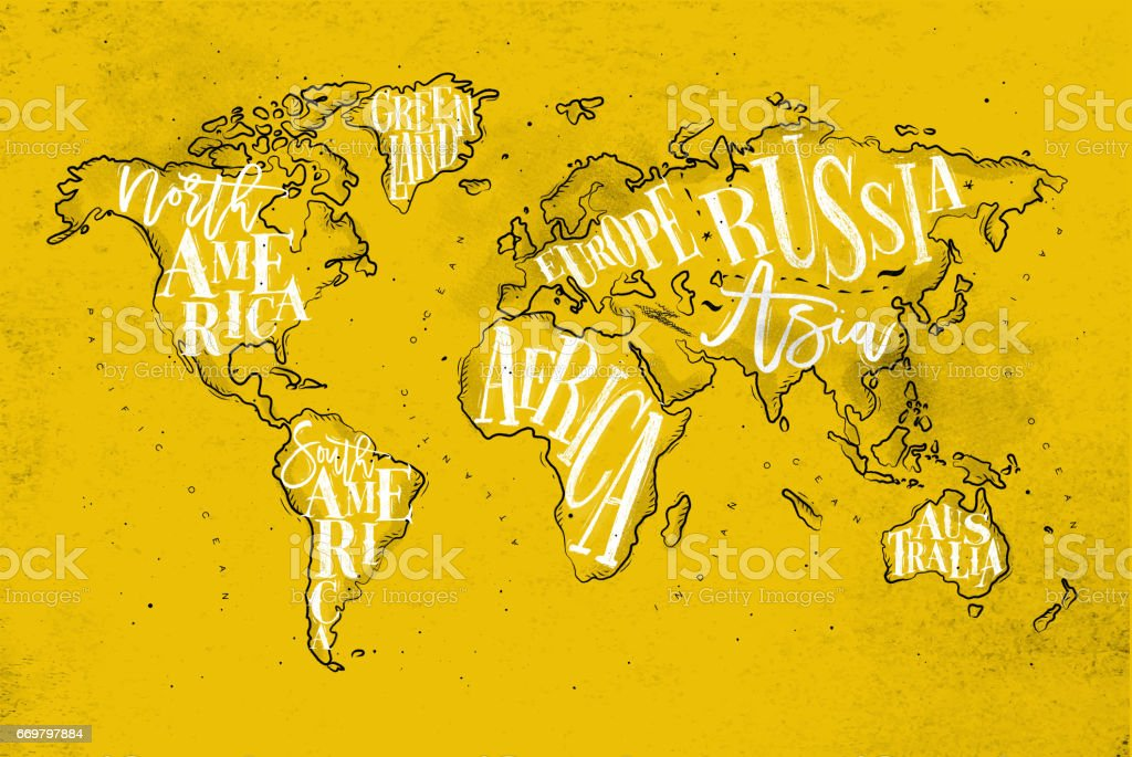 Worldmap Vintage gelb – Vektorgrafik