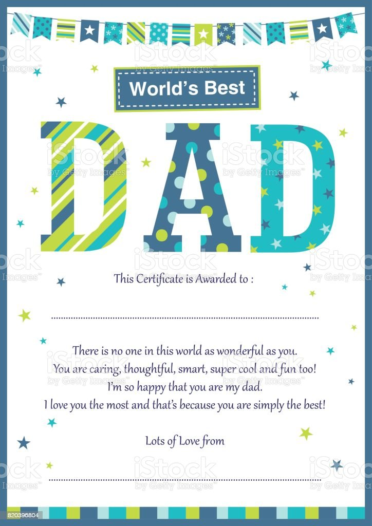 worlds best dad certificate stock vector art more images of