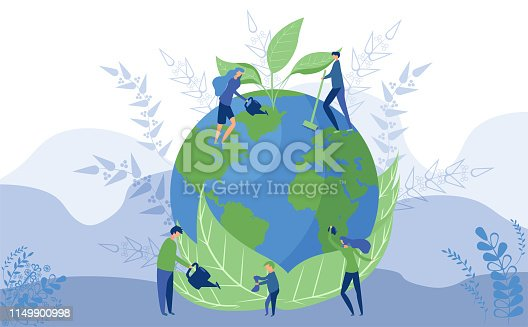 Worlds Environment Day concept. Illustration of our planet and people which save and take care of its ecological and environmental state