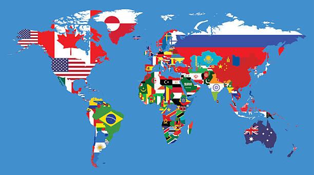 illustrations, cliparts, dessins animés et icônes de carte politique du monde - cartes et drapeaux