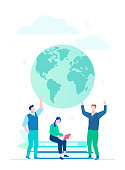 Worldwide business - flat design style illustration on white background. A colorful composition with cheerful team standing before a globe, woman sitting on books. International project concept