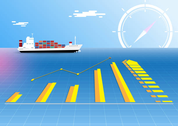 Worldwide cargo container ship delivery. vector art illustration