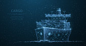 Worldwide cargo ship. Polygonal wireframe mesh art looks like constellation on dark blue night sky with dots and stars. Transportation, logistic, shipping concept illustration or background