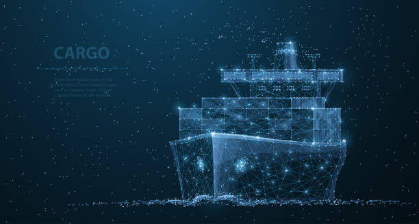worldwide cargo ship. polygonal wireframe mesh art. transportation, logistic, shipping concept illustration or background - statek stock illustrations