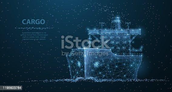 istock Worldwide cargo ship. 1195603784