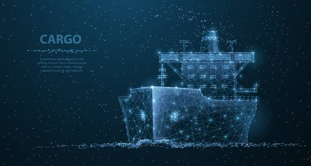 Worldwide cargo ship. vector art illustration