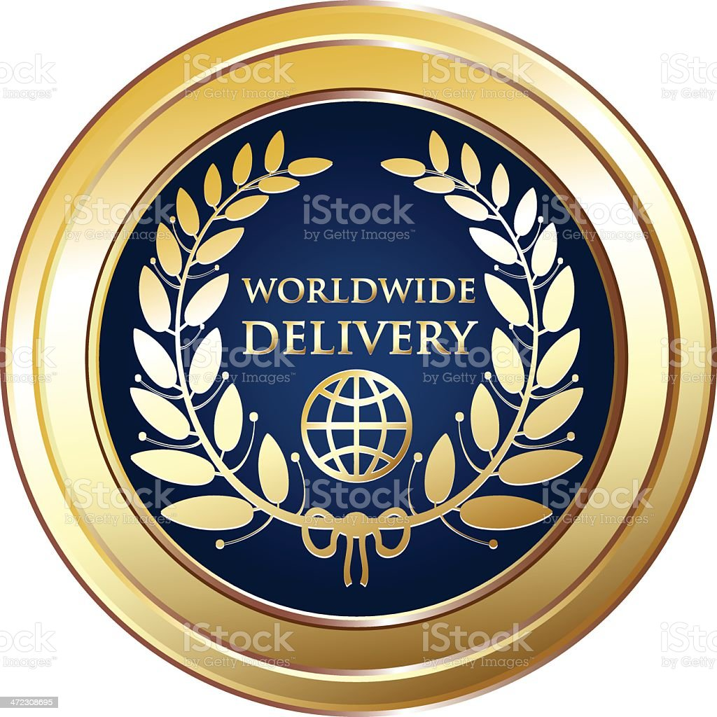 Worldwide Delivery Medal royalty-free worldwide delivery medal stock vector art & more images of award