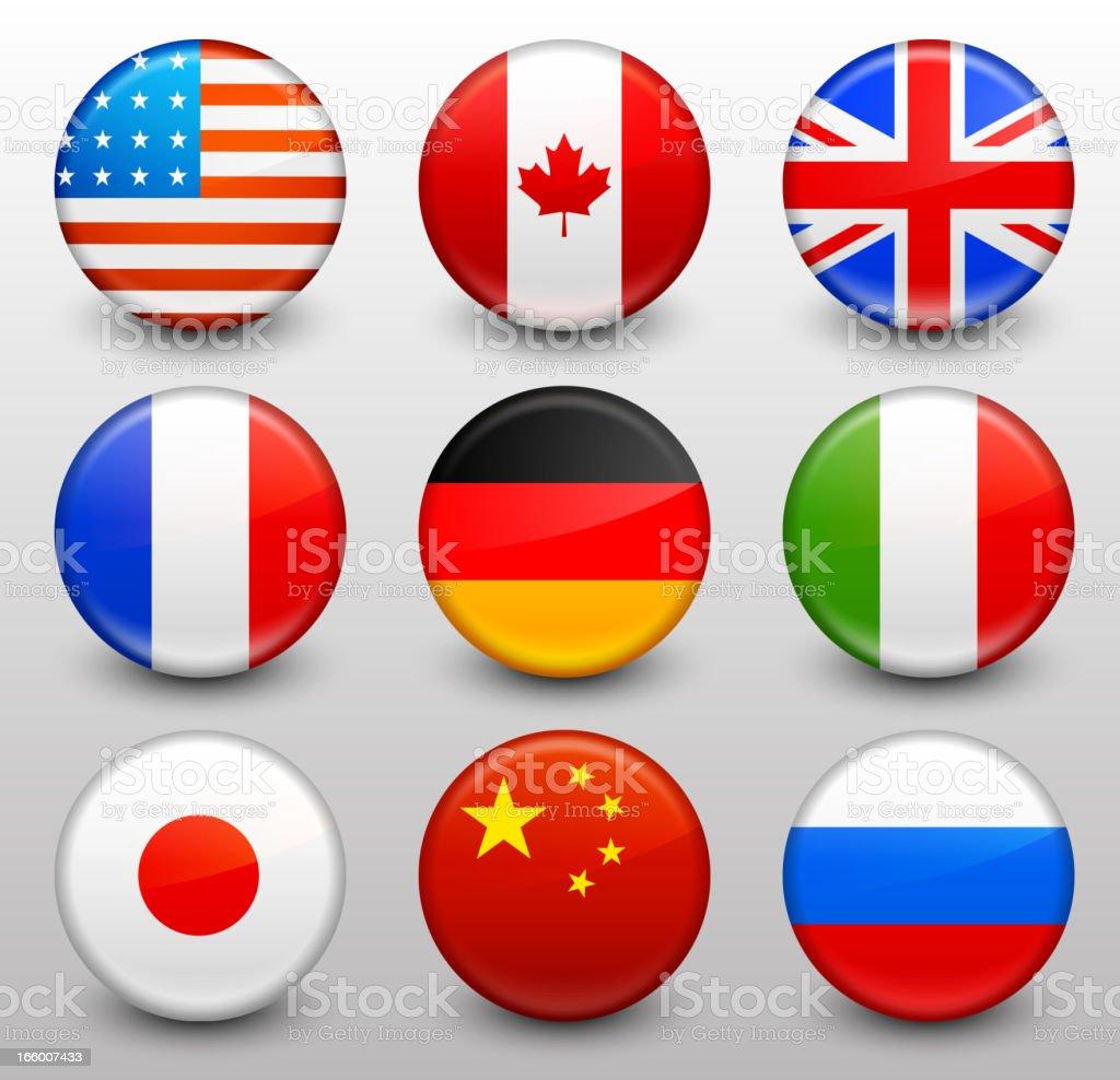 worldwide flag button pins collection stock vector art 166007433