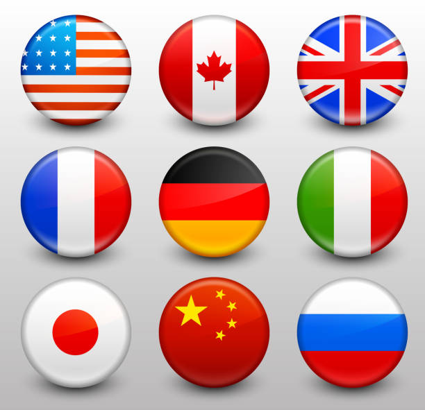 worldwide flag button pins collection - russian flag stock illustrations, clip art, cartoons, & icons