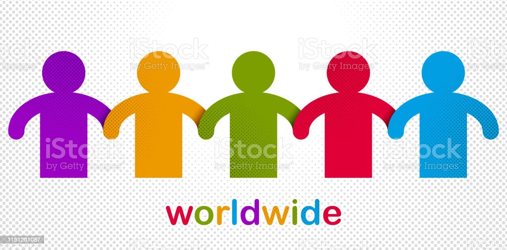 Worldwide people global society concept, different races solidarity,...