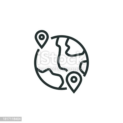 istock Worldwide Shipping Line Icon 1317118404