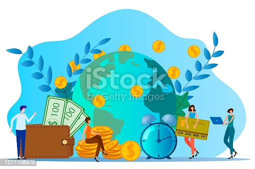Worldwide transfer of Bank funds.People on the background of the globe are engaged in the transfer of funds.Business and management.Time zone.Flat vector illustration.