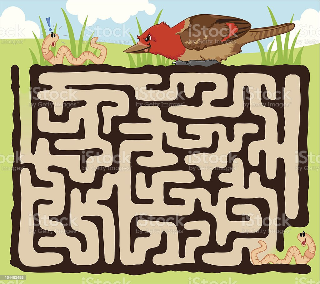 Worm and bird maze game vector art illustration