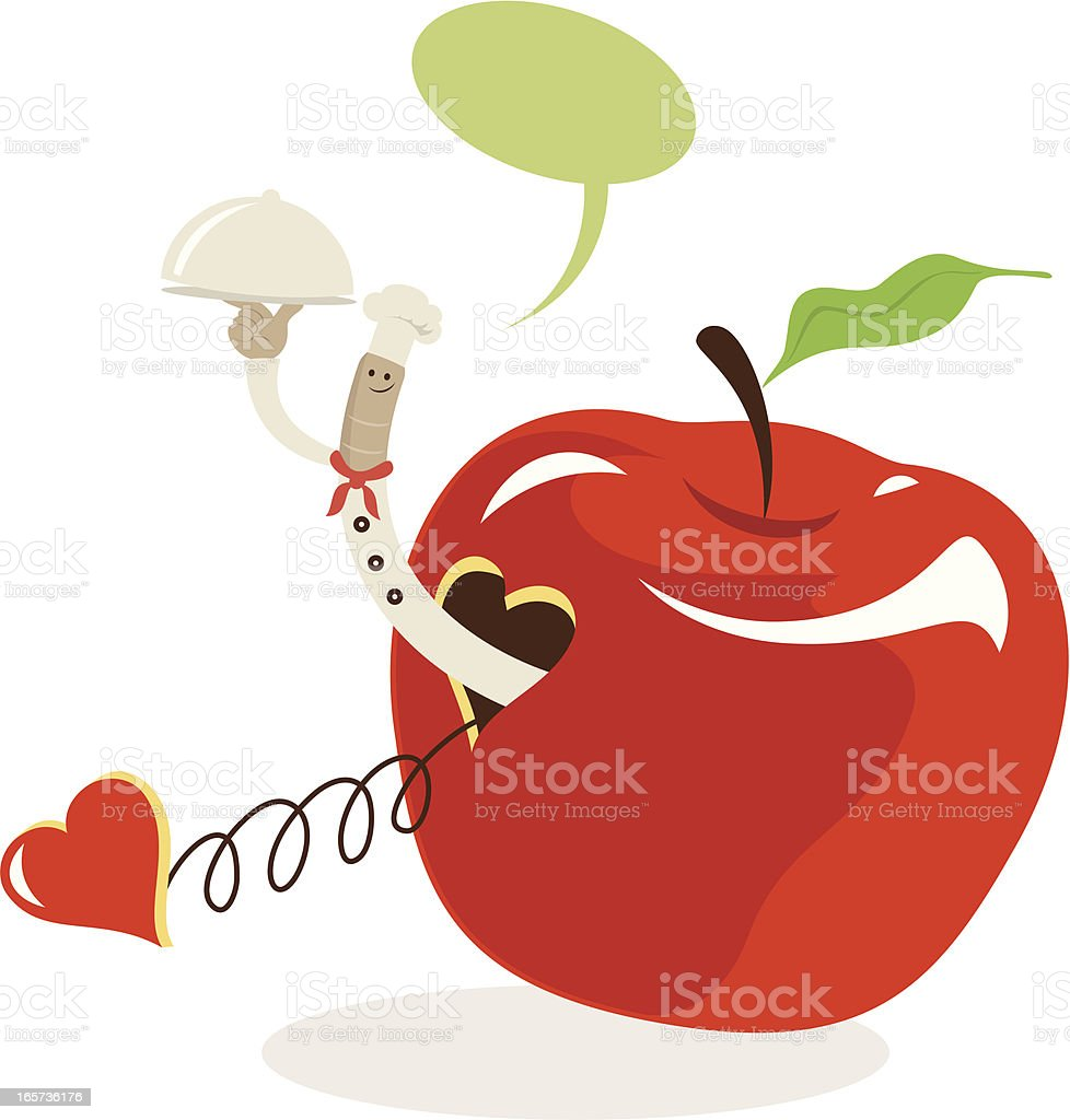 Worm Chef Giving You The Best Natural Foods From Apple royalty-free stock vector art