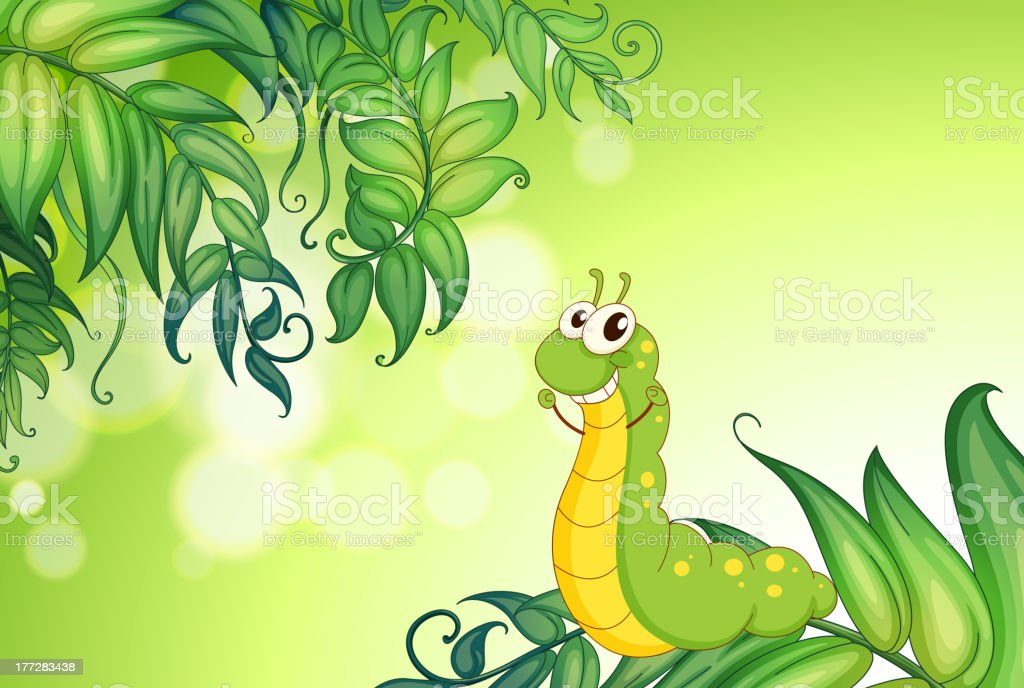 Worm crawling at the leaves royalty-free worm crawling at the leaves stock vector art & more images of artist