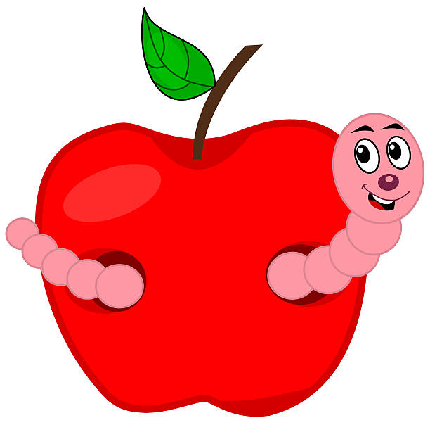 worm eating an apple - rotten apple stock illustrations, clip art, cartoons, & icons