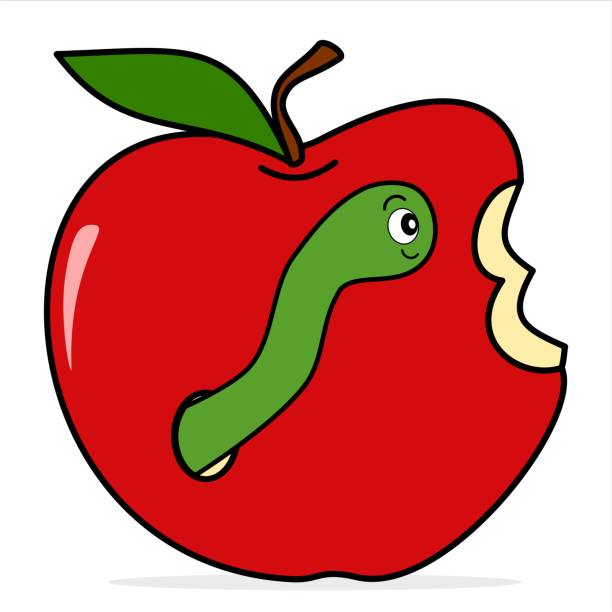 worm in apple cute funny cartoon vector illustration isolated on white background - rotten apple stock illustrations, clip art, cartoons, & icons