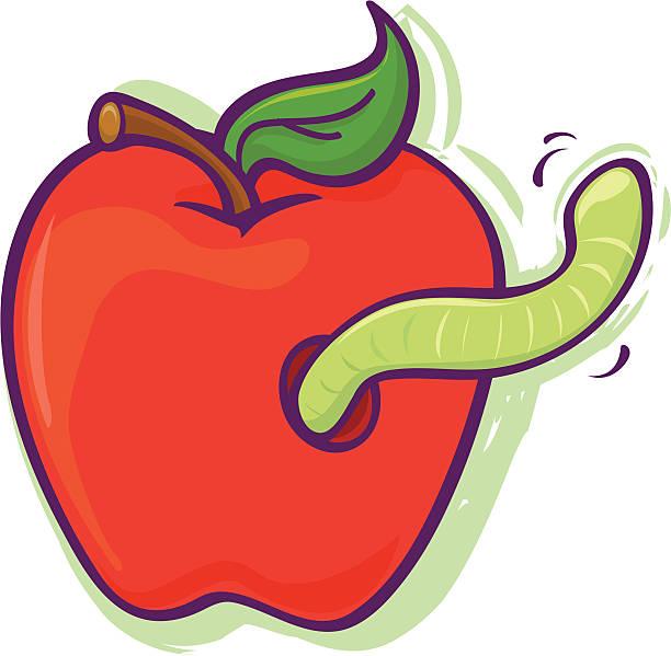 worm in apple - rotten apple stock illustrations, clip art, cartoons, & icons