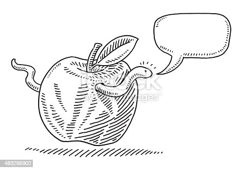 Hand-drawn vector drawing of a Worm Looking Out Of Apple Hole. There is an empty Speech Bubble nearby the head of the worm. Black-and-White sketch on a transparent background (.eps-file). Included files are EPS (v10) and Hi-Res JPG.