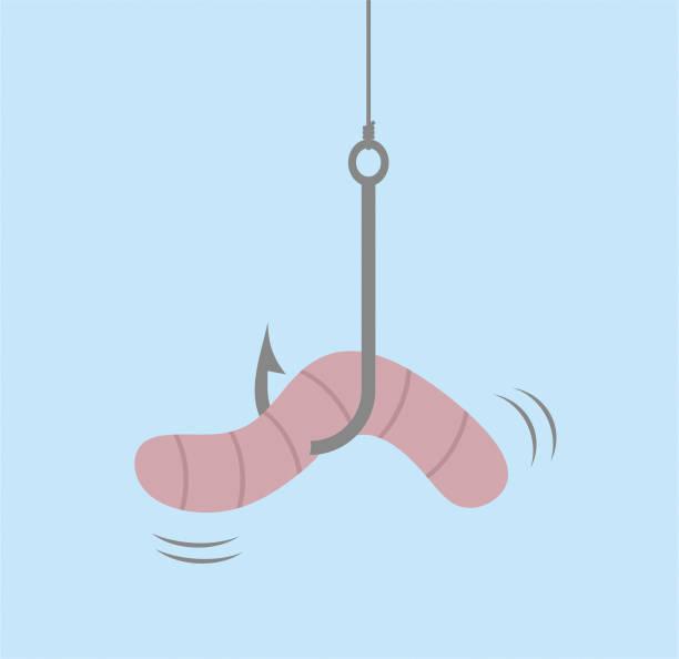 Worm on hook worm worm stock illustrations