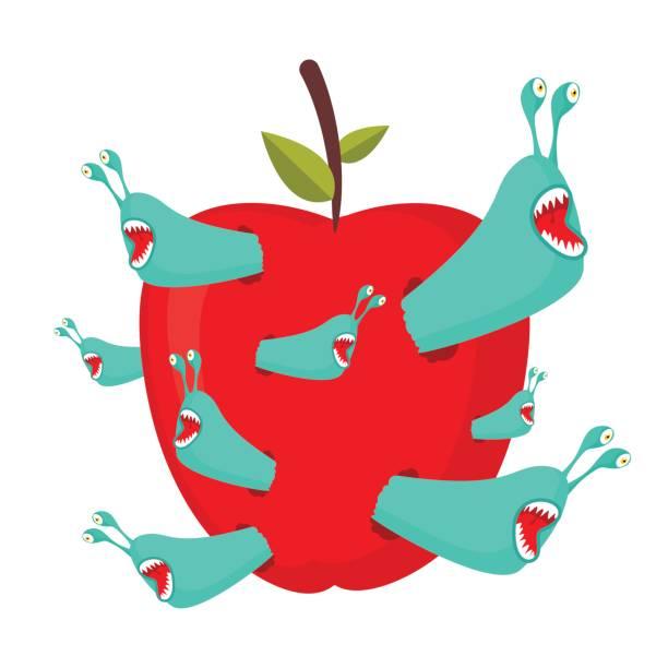 roten apfel essen würmer. parasiten-schädlinge im obst - lombok stock-grafiken, -clipart, -cartoons und -symbole