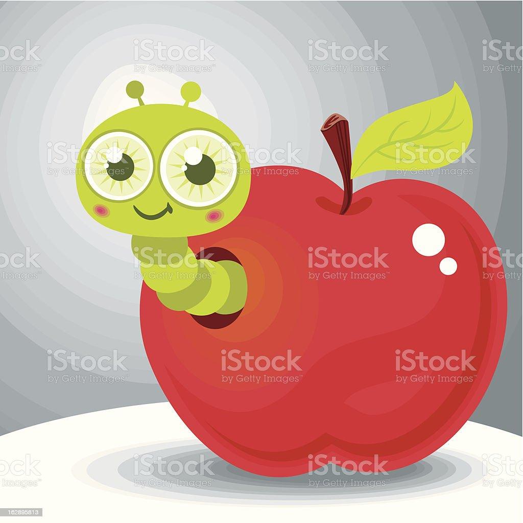 Wormy Apple vector art illustration
