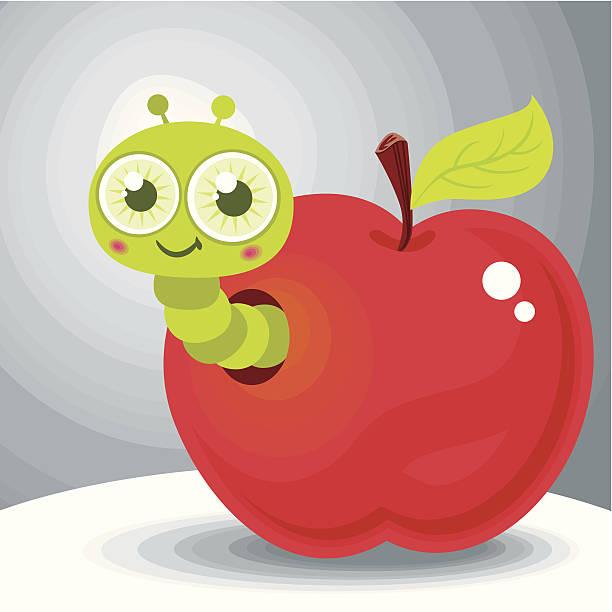 wormy apple - rotten apple stock illustrations, clip art, cartoons, & icons