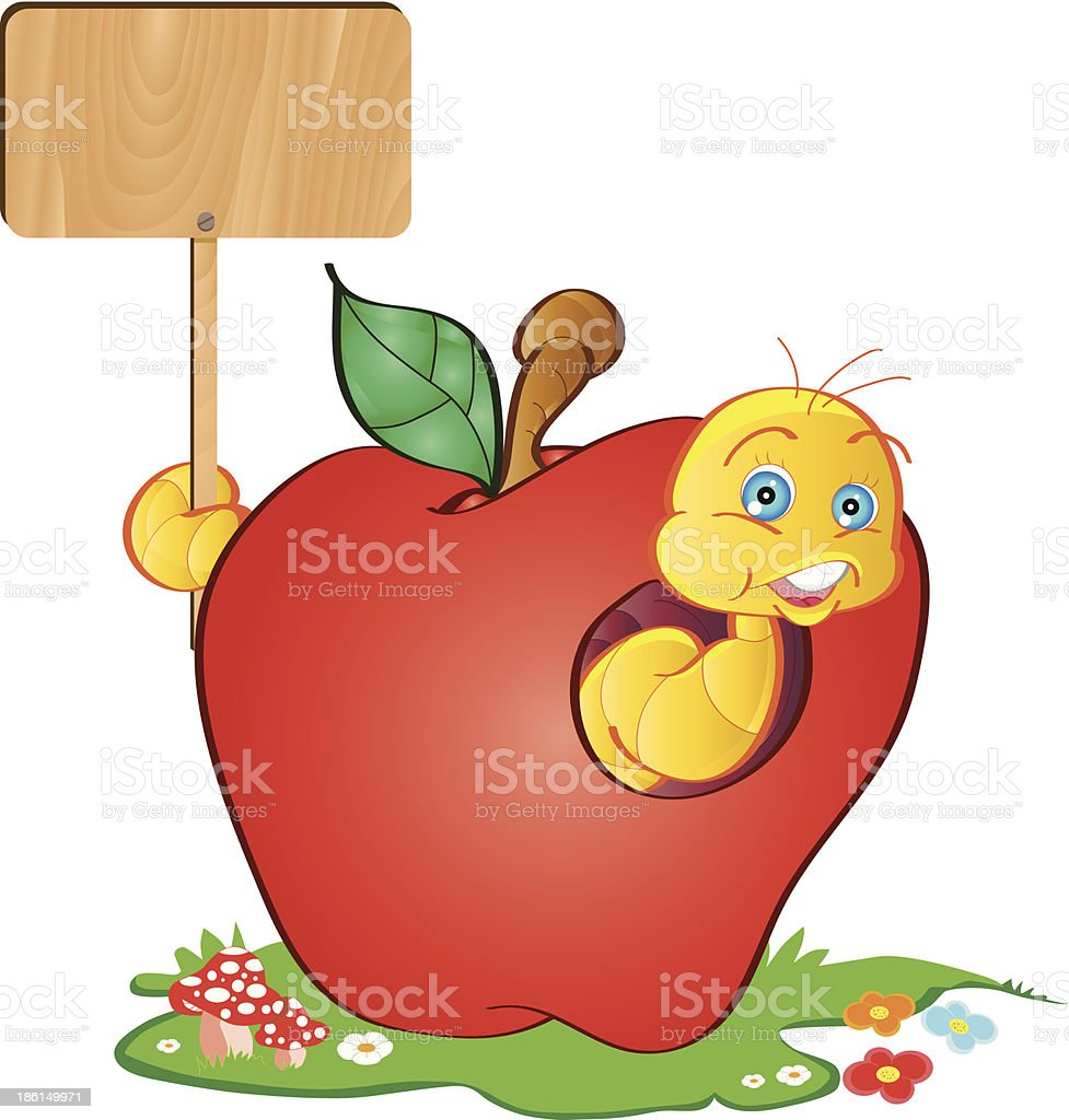 Wormy Apple With Message Signboard vector art illustration