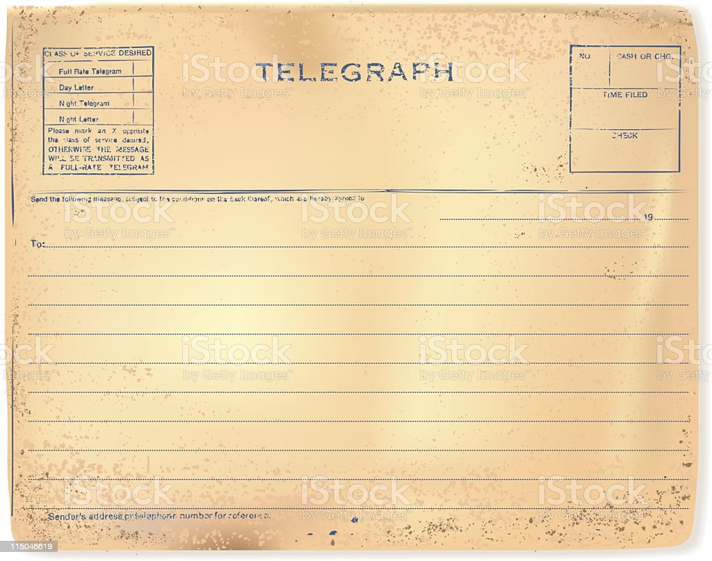 Worn and Tattered Vintage Antique Telegram on Parchment Grunge Paper royalty-free worn and tattered vintage antique telegram on parchment grunge paper stock vector art & more images of antique