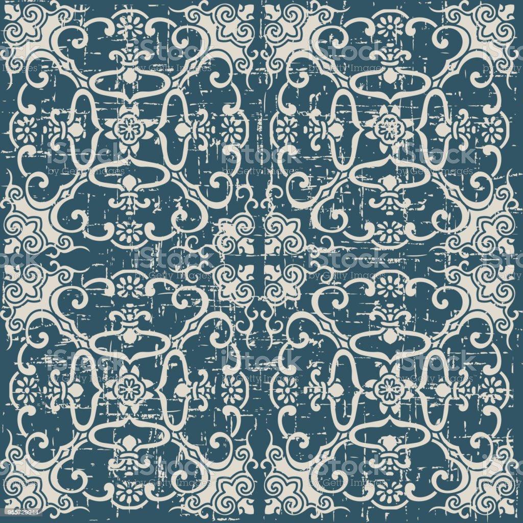 Abgenutzt Antike Nahtlose Hintergrund Spirale Kreuz Rahmen Blume ...