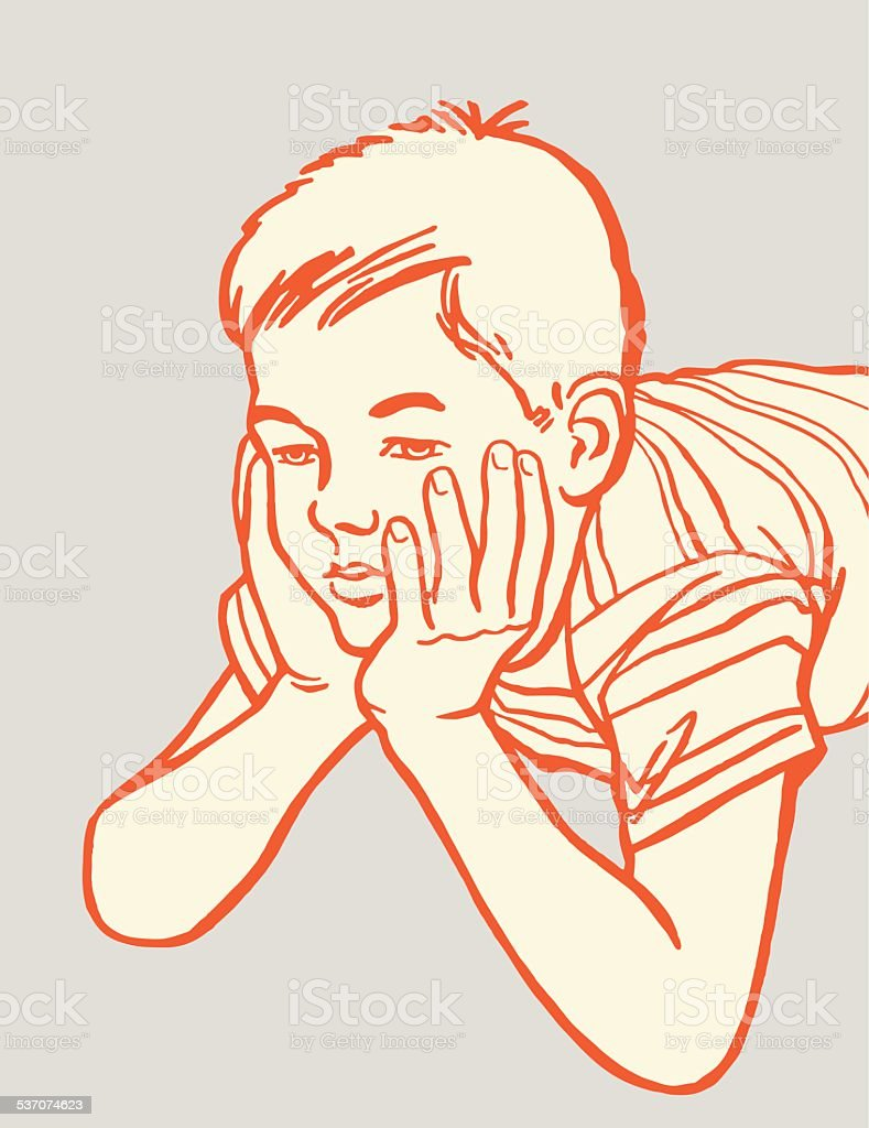 Worried Boy vector art illustration