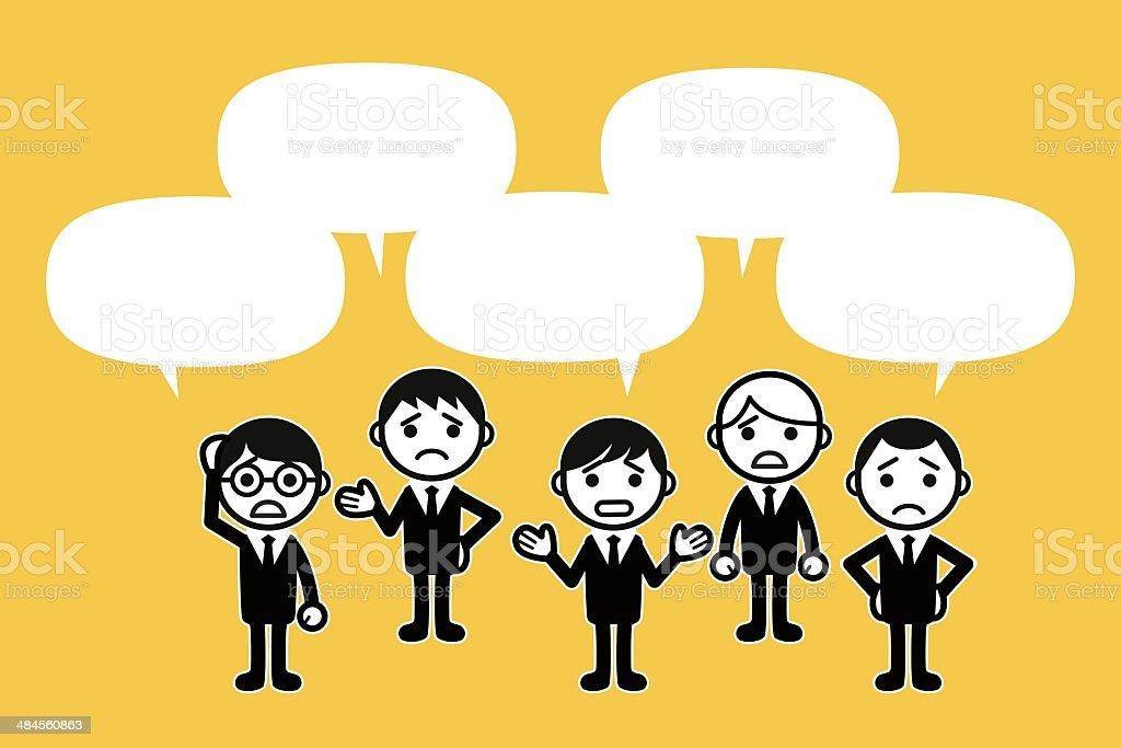Worried business people vector art illustration