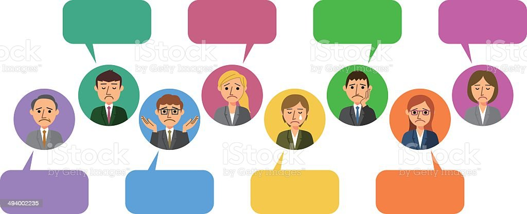 Worried business people withs Speech Bubbles vector art illustration