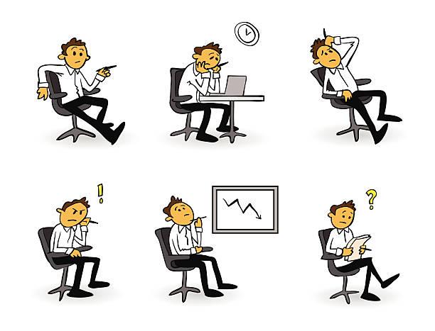 心配するビジネスマンカットイラスト、 - オフィスワーク点のイラスト素材/クリップアート素材/マンガ素材/アイコン素材