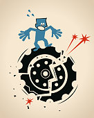Blue Little Guy Characters Full Length Vector art illustration.Copy Space.\nWorried businessman standing on a big damaged gear.
