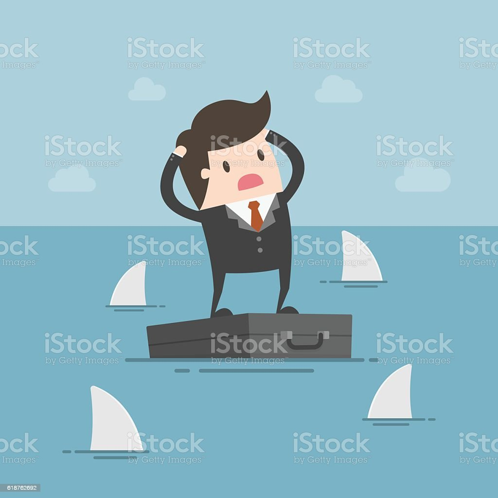 Worried Businessman Standing On Briefcase In The Sea And Surroun vector art illustration
