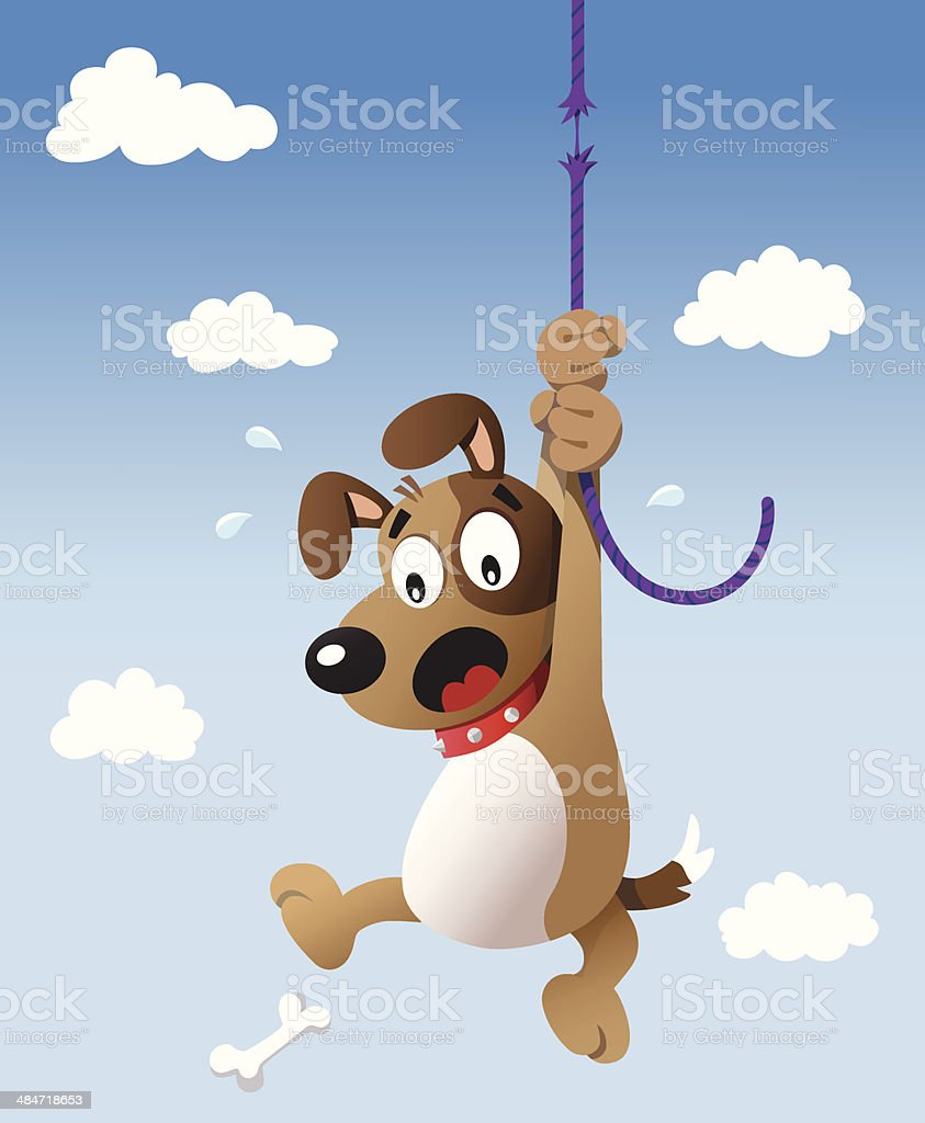 Worried dog about to fall. vector art illustration