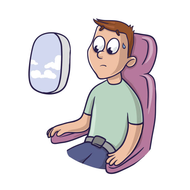 worried frightened man in the airplane seat at the window. fear of flying, aerophobia. vector illustration, isolated on white. - airplane seat stock illustrations