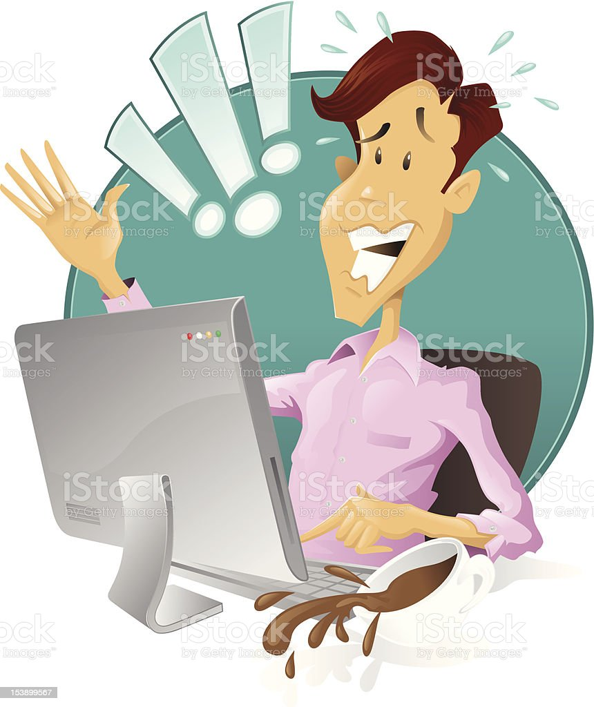 Worried man has done something terribly wrong with his computer! royalty-free stock vector art