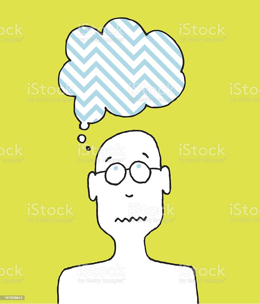 Worried person / Cartoon disturbed thoughts royalty-free stock vector art