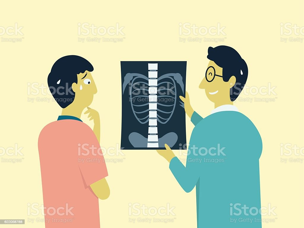 Worried with MRI scan result vector art illustration