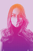 Worried woman wearing protective face mask hoping to avoid Coronavirus disease